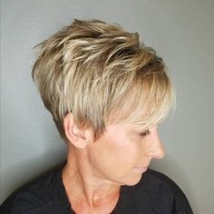 Chopped Honey Blonde Pixie With Bangs