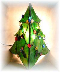 二面体のクリスマスツリー/ 配線済ベース+フラワーランプ+型紙付き* - ☆Xmas Holiday☆ [ステンドグラスサプライ・ネットショップ]