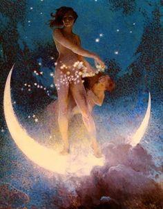 Edwin Howland Blashfield - Spring Scattering Stars offered by Robert Funk Fine Art on InCollect Goddess Art, Moon Goddess, Star Goddess, Fantasy Kunst, Fantasy Art, Kunst Poster, Beautiful Moon, Alphonse Mucha, Moon Art
