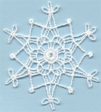 Snowflake 4 - free standing lace machine embroidery, designed to look like crochet; looks better with heavier thread or 2 threads through the needle Crochet Snowflake Pattern, Crochet Stars, Christmas Crochet Patterns, Crochet Snowflakes, Thread Crochet, Crochet Doilies, Christmas Ornament Crafts, Snowflake Ornaments, Christmas Snowflakes