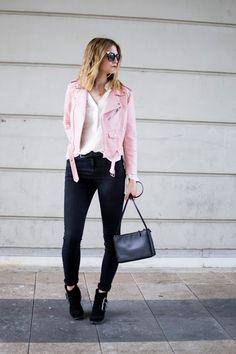 http://www.fashionardenter.com/2016/06/the-pink-leather-jacket.html  Pink leathe jacket : Zara Jeans : Pimkie Buckle boots : Bershka Céline trio bag