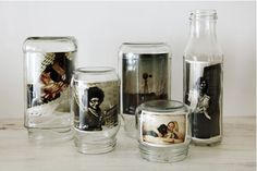 Place photos inside jars instead of buying a picture frame. Gorgeous, frugal, and green! display photos, food containers, glass, a frame, picture displays, old jars, bottles, picture frames, mason jars