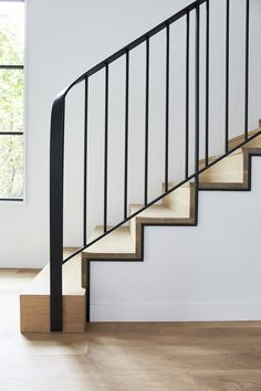 Simple and sleek stairs with black outline detail design modern stairways work — Brooke Voss Design Metal Stair Railing, Stair Railing Design, Staircase Railings, Staircases, Railing Ideas, Banisters, Modern Railings For Stairs, Wood Handrail, Stair Lift