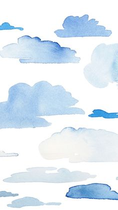 Blue Clouds. Tap to see more iPhone Wallpapers for Summer To Brighten Up Your Phone! Watercolor pattern background. - mobile9