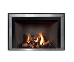 FV44i Décor model with Layered Wide Grace front in Brushed Chrome finish. Fireplace Fronts, Fireplace Inserts, Gas Fireplace, Fireplaces, Chrome Finish, Hearth, Glass, Model