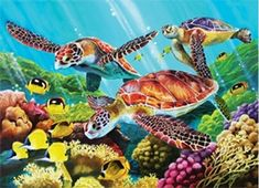Molokini Turtles - Jigsaw Puzzle by Cobble Hill Sea Turtle Painting, Underwater Painting, Watercolor Feather, Turtle Love, Puzzles For Kids, Tropical Fish, 500 Piece Jigsaw Puzzles, Colorful Backgrounds, Art For Kids