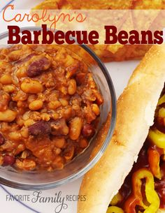 Carolyn's BBQ beans -- this is my favorite BBQ beans recipe EVER! So good! from FavFamilyRecipes.com