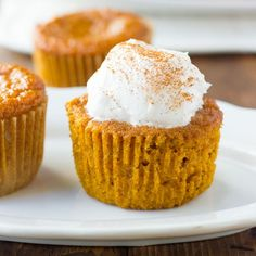 A cross between pumpkin pie and a cupcake. So easy to make and perfect for a dairy-free/gluten-free Thanksgiving.