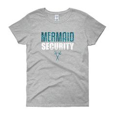 A heavy cotton, classic fit ladies scoop neck t-shirt. Mermaid Security T-shirt: Mermom is perfect for the birthday girl or boys mom. It is the perfect shirt for any mermaid or merman lover who is protecting the birthday girl or boy. Makes a great gift idea for a birthday, Christmas,