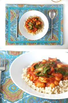 Moroccan style placemat and Moroccan chicken recipe