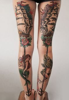 Mermaid tattoo designs for girls symbolizes beauty. Many mermaid tattoo designs are derived from the ancient Greeks mythology Best Leg Tattoos, Love Tattoos, Beautiful Tattoos, Body Art Tattoos, Tattoos For Guys, Thigh Tattoos, Tattoo Art, Awesome Tattoos, Back Of Thigh Tattoo