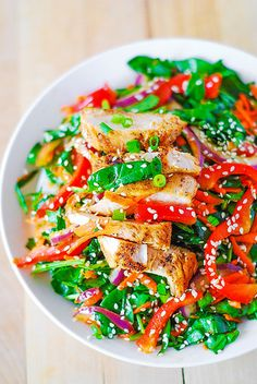 Asian chicken salad recipe with ginger sesame dressing