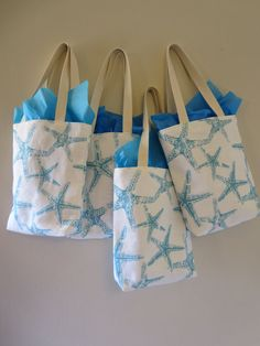 Bridesmaid Totes - 7 Starfish Mini Totes - Bridesmaids Bag - Wedding Welcome Bags - Beach Wedding Favors -