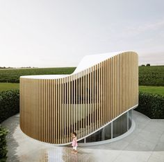 penda crafts curved timber garden house for wood artist in beijing, Social Housing Architecture, Architecture Résidentielle, House Architecture Styles, Organic Architecture, Contemporary Architecture, Modern Wood House, Curve Building, Architecture Organique, Pavillion