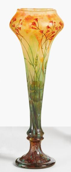 "DAUM ""WILDFLOWERS"" VASE etched DAUM/NANCY with the Croix de Lorraine internally decorated, etched and enameled glass 12 1/4  in. (31.3 cm) high 4 1/8  in. (10.5 cm) diameter circa 1910"