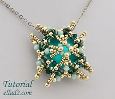 Tutorial Luna Square pendant -Beading tutorials and patterns by Ellad2