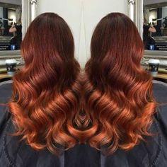 Dark Copper Balayage Hair Color Idea
