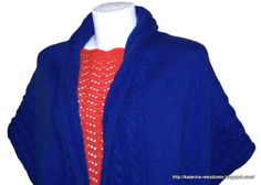 Szydełkowa bluzka, szal/ ponczo wykonany na drutach