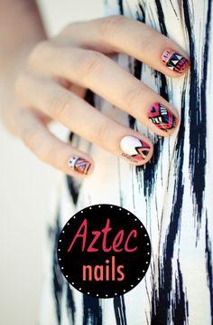 Aztec Ethnic Nail Art: five color colour design: orange (Zoya Thandie), pink (Zoya Yana), neutral beige (Butter London Cuppa / Essie Sand Tropez),  black stripes and white base. Add gold flake foil glitter topcoat (Cirque) | Pshiiit #ethnic #boho #tribal #summer 2013 #nailart