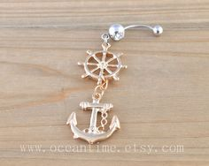 Anchor Belly Button Rings,rudder Navel Jewlery,bling anchor belly button ring, navy ring,nautical jewelry,friendship gift on Etsy, $7.59