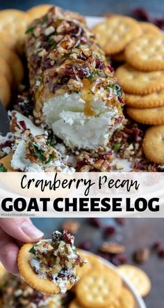 Make this Pecan Cranberry Goat Cheese Appetizer Recipe in minutes with just a few simple ingredients. A goat cheese log will stand out at holiday feasts or parties. #goatcheeserecipes #appetizerrecipes #easyappetizerrecipes #holidayrecipes #cheeserecipes #partyrecipes