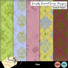 Pack of 5 Damask Papers for the Kea kit. Personal & Scrap for Hire use only. Full size. 300dpi. 12 x 12. #mymemories #mymemoriessuite #scrapbooking #digitalscrapbooking #digiscrapbooking #digitalscrapbookkits #kits #papers