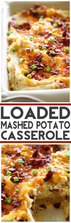 DIY The Best Loaded Mashed Potato Casserole This recipe takes mashed potatoes to a whole new delicious level! These potatoes will be the star of the dinner table! They are my new favorite potato recipe! Loaded Mashed Potato Casserole, Casserole Dishes, Cheesy Mashed Potatoes, Mashed Cauliflower, Cauliflower Recipes, Vegan Casserole, Potatoe Casserole Recipes, Mashed Potato Recipes, Side Dishes