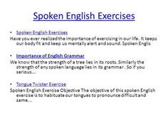 Spoken English Exercises by damianev via authorSTREAM