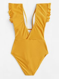 V-Plunge Ruffle Shoulder One Piece Swimsuit -SheIn(Sheinside) Swimsuits For Big Bust, One Piece Swimsuit Trendy, Lingerie Transparente, Pyjama Satin, Yellow One Piece, Lounge Wear, Ideias Fashion, Underwear, Bodysuit