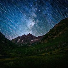 Maroon bells star trails Photo by #tmophoto