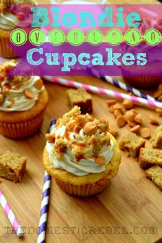 Blondie Overload Cupcakes -- if you love sweet and salty blondies, these sinful, brown sugary cupcakes are for you!