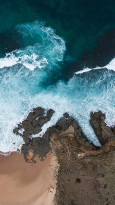 Beach, coast, sea waves, sea, aerial view, 720x1280 wallpaper
