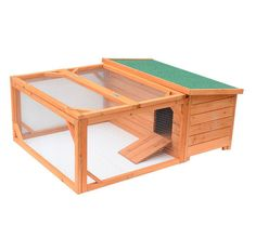 Pawhut Small Wooden Bunny Rabbit Guinea Pig Chicken Coop W/ Outdoor Wood Run