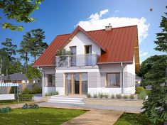 projekt Drozd 2 BSA2016 Beautiful House Plans, Beautiful Homes, Diy Computer Desk, Winter House, Home Fashion, Colonial, Shed, Exterior, Outdoor Structures