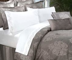 gray and white linens