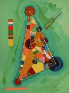 conversation with primary shapes in Wassily Kandinsky's Bauhaus oil painting using circles, squares and triangles (1965).