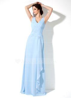 Bridesmaid Dresses - $106.99 - A-Line/Princess V-neck Floor-Length Chiffon Bridesmaid Dress With Ruffle (007001852) http://jenjenhouse.com/A-Line-Princess-V-Neck-Floor-Length-Chiffon-Bridesmaid-Dress-With-Ruffle-007001852-g1852?ver=1