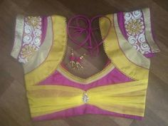 I like the bow design Patch Work Blouse Designs, Kids Blouse Designs, Simple Blouse Designs, Stylish Blouse Design, Choli Designs, Bridal Blouse Designs, Hand Designs, Mehndi Designs, Blouse Neck Patterns