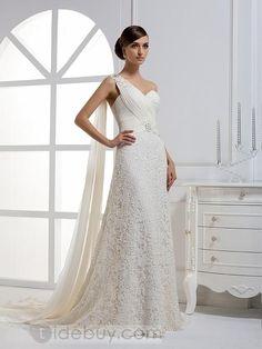 A-ラインワンショルダーワトーロングフロアウェディングドレス