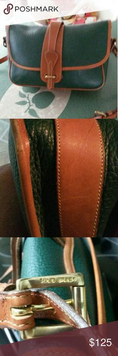 Vintage Dooney Bourke fir color Vintage in excellent condition! AWL Leather. 12x7 in shoulder strap in exc condition, minor dusty spots inside Gorgeous preloved condition, small scuffs to either bottem corners on back corners. With leather conditioner hardly noticeable.beautiful purse!! Dooney & Bourke Bags Shoulder Bags