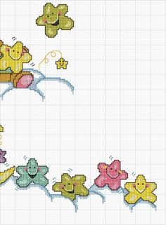 Stella e luna Baby Cross Stitch Patterns, Cross Stitch For Kids, Cross Stitch Baby, Cross Stitch Charts, Cross Stitch Designs, Baby Embroidery, Cross Stitch Embroidery, Baby Motiv, Stitch Cartoon