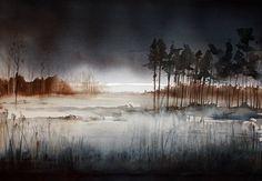 La foresta nebbiosa - Pittura, 58x40 cm © 2009 da Jonas Pettersson - acquerello, La foresta nebbiosa