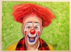 Watercolor Clown #8 Steven Daniel Copeland 9 X 12 on Canson Watercolor 140 lb paper Original -SOLD