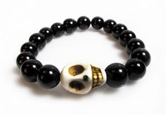 Large Stone Skull Onyx Beaded Bracelet (Black) - SDTT