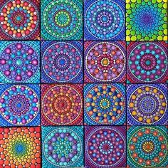 ✨*First Website Shop Update*✨ . This beautiful and bright collection of Mini Mandala Paintings will be available on my first official shop… Dot Painting Tools, Dot Art Painting, Stone Painting, Mandala Art Lesson, Mandala Artwork, Mandala Painting, Mandala Painted Rocks, Mandala Rocks, Mandala Pattern