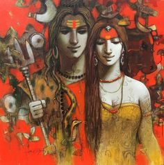 Lord Shiva and Parvati wallpaper in creative art painting Indian Art Gallery, Indian Artwork, Indian Art Paintings, Original Paintings, Modern Indian Art, Indian Folk Art, Indian Artist, Shiva Art, Krishna Art