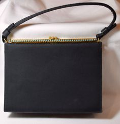 45762146b35 Items similar to Vintage purse,black satin Lester purse gold trim and  beading,with coin purse,vintage glam,midcentury,handbag,accessory,fashion,retro  purse ...