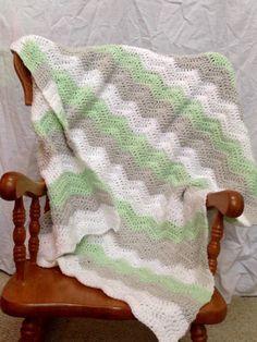 Gender neutral crochet baby blanket in mint gray and white