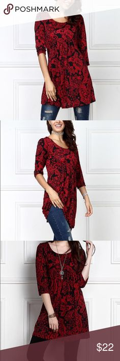 Women's tunic size L A raised empire waist and fitted bust showcase your curves with a confidence-inspiring fit as an eye-catching print promises captivating style.   Fitted bust Knit 95% polyester / 5% spandex Machine wash; hang dry Imported Tops Tunics