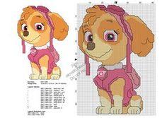 Paw Patrol character Skye free cross stitch pattern 60x87